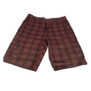 Guess Front Panel Plaid Shorts, Brown, Black, 38